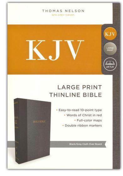 Kjv Thinline Bible Large Print Cloth Over Board Black